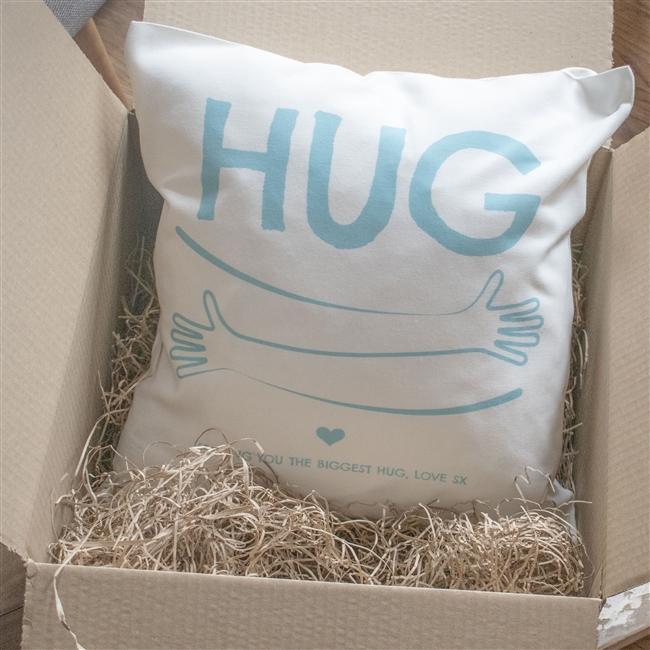 Personalised 'Hug By Post' Cushion