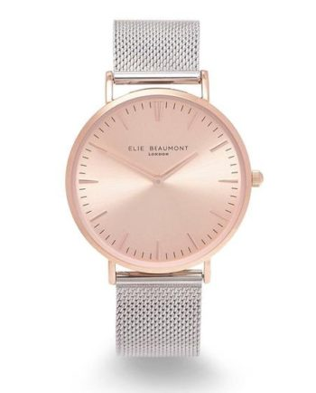 Personalised Own Handwriting Elie Beaumont Rose Silver Ladies Watch