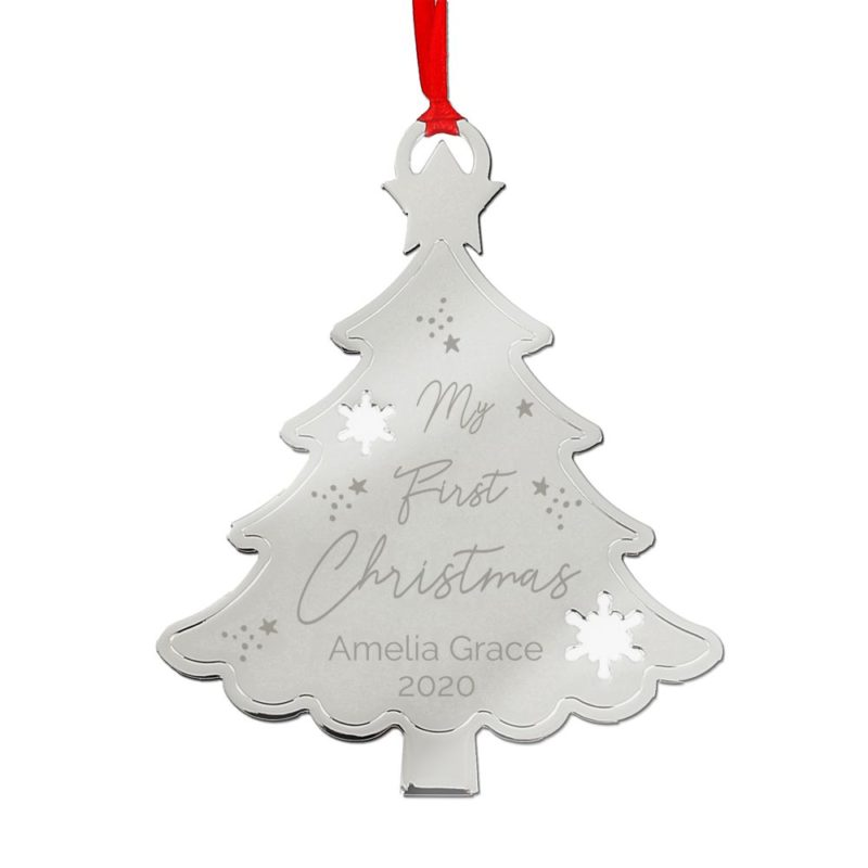 Personalised 'My First Christmas' Metal Tree Decoration