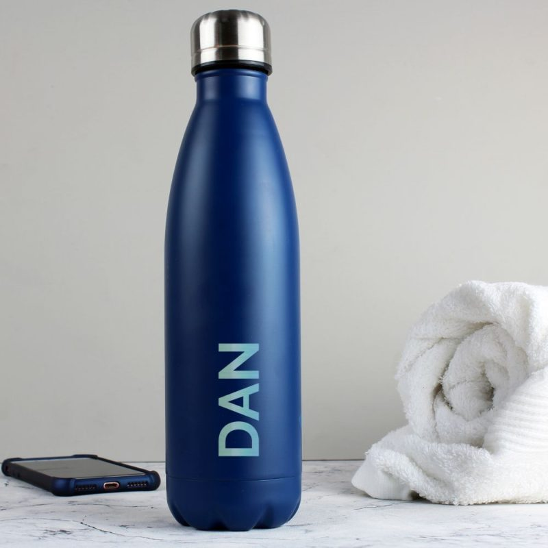 Personalised 'Bold Name' Blue Metal Insulated Drinks Bottle