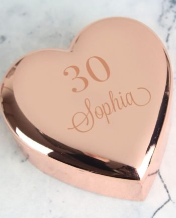 Personalised Special Age Rose Gold Heart Trinket Box