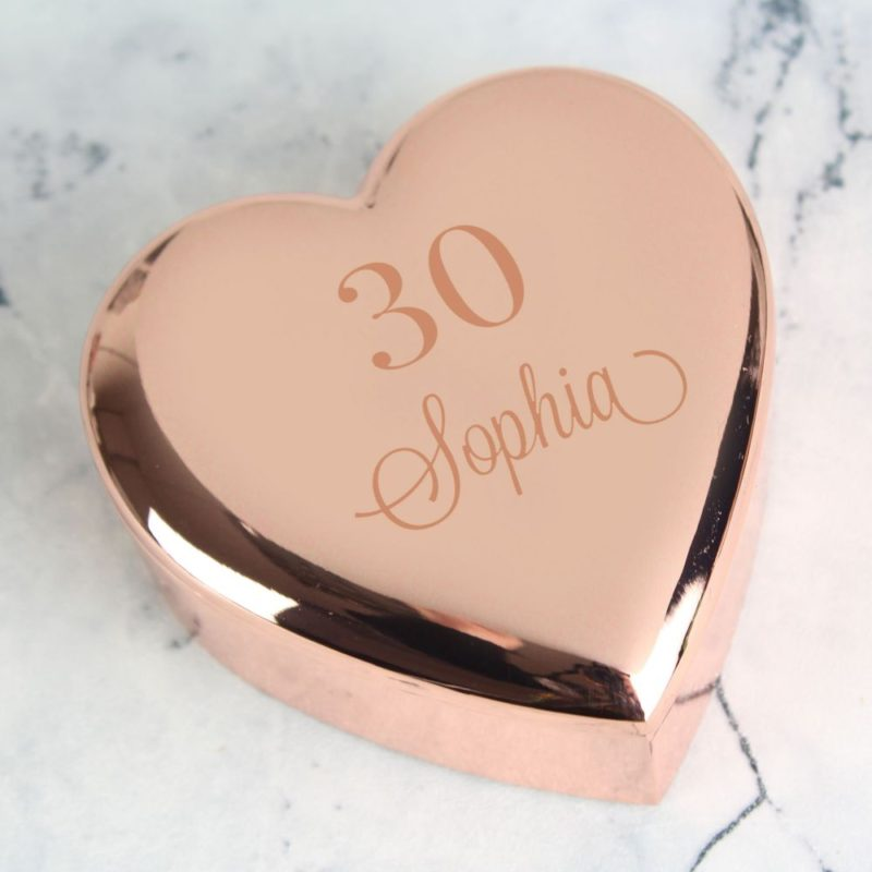 Personalised 'Special Age' Rose Gold Heart Trinket Box