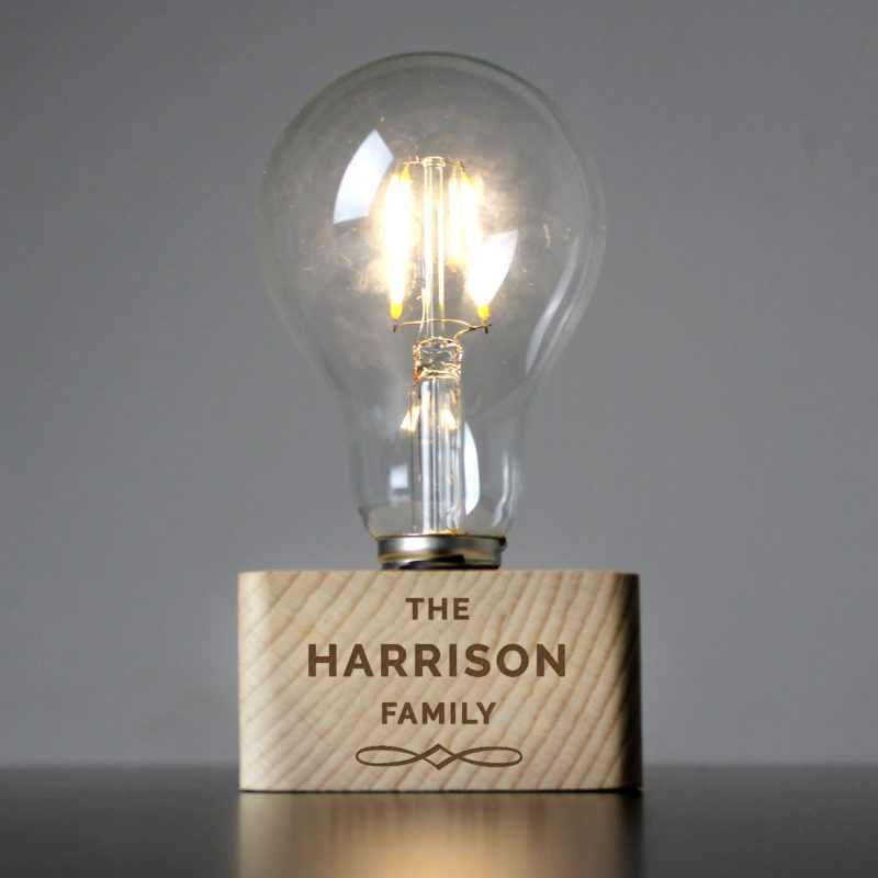 Personalised Decorative LED Bulb Wooden Table Lamp