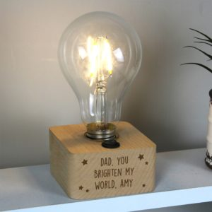 Personalised Stars LED Bulb Wooden Table Lamp