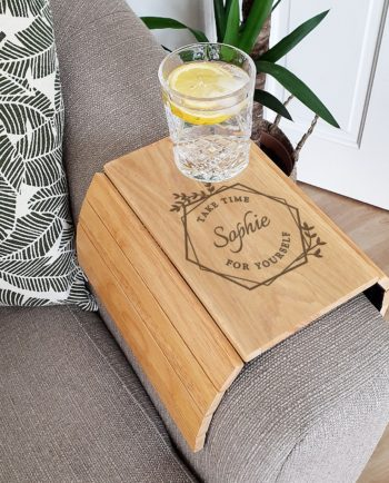 Personalised Take Time For Yourself Wooden Sofa Armrest Tray