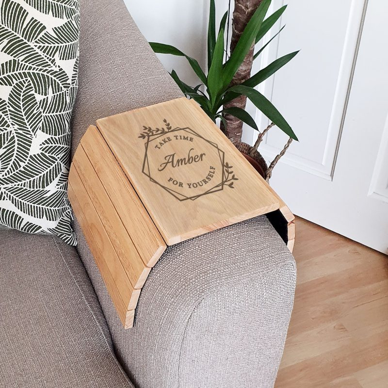 Personalised 'Take Time For Yourself' Wooden Sofa Armrest Tray