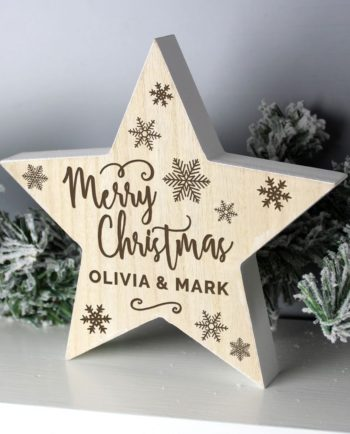 Personalised 'Merry Christmas' Rustic Wooden Star Decoration