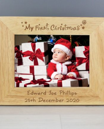 Personalised My First Christmas 7x5 Wooden Photo Frame