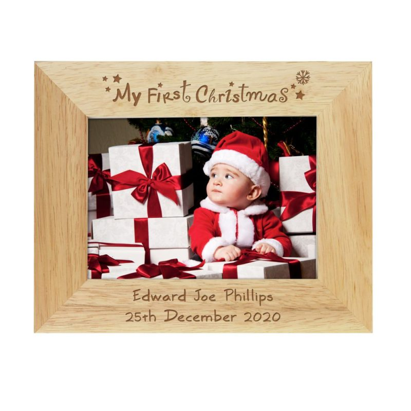 Personalised 'My First Christmas' 7x5 Wooden Photo Frame