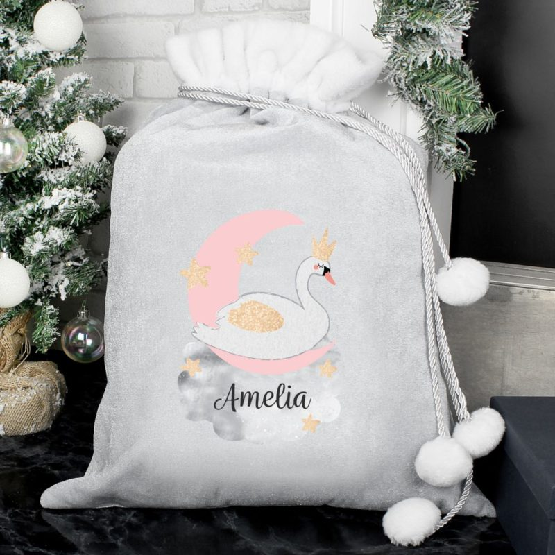 Personalised 'Swan Lake' Luxury Silver Grey Pom Pom Sack