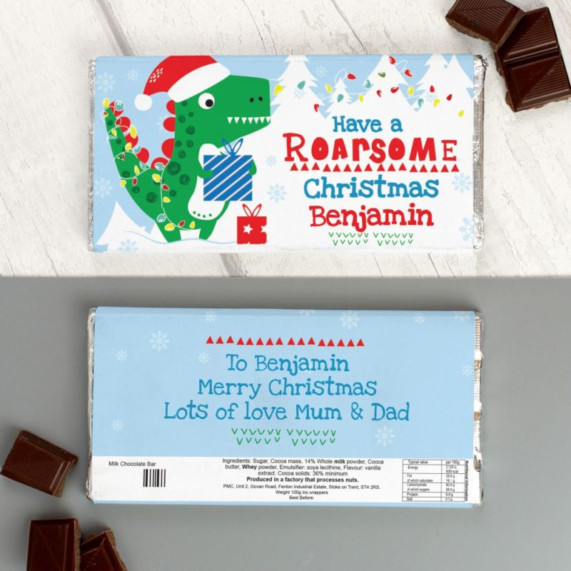 Personalised 'Have a Roarsome Christmas' Dinosaur Milk Chocolate Bar