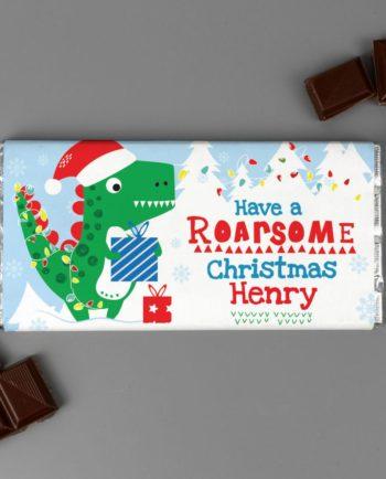 Personalised Roarsome Christmas Dinosaur Milk Chocolate Bar