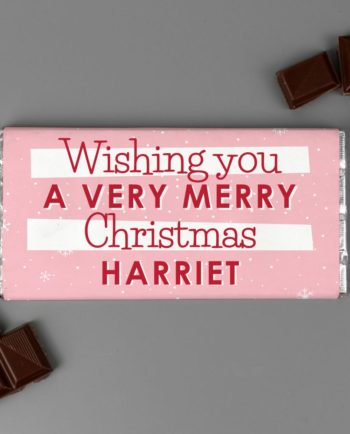 Personalised 'Pink Snowflake' Christmas Milk Chocolate Bar