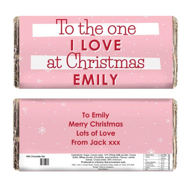 Personalised 'Pink Snowflake' Christmas Milk Chocolate Bar