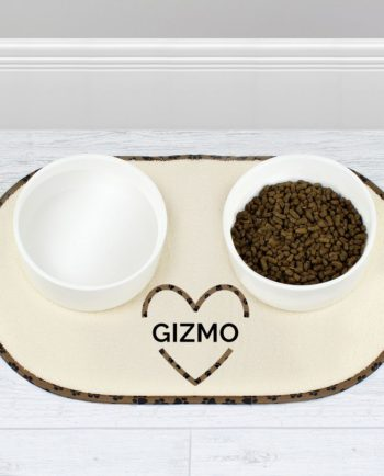 Personalised Love Heart Pet Bowl Placemat