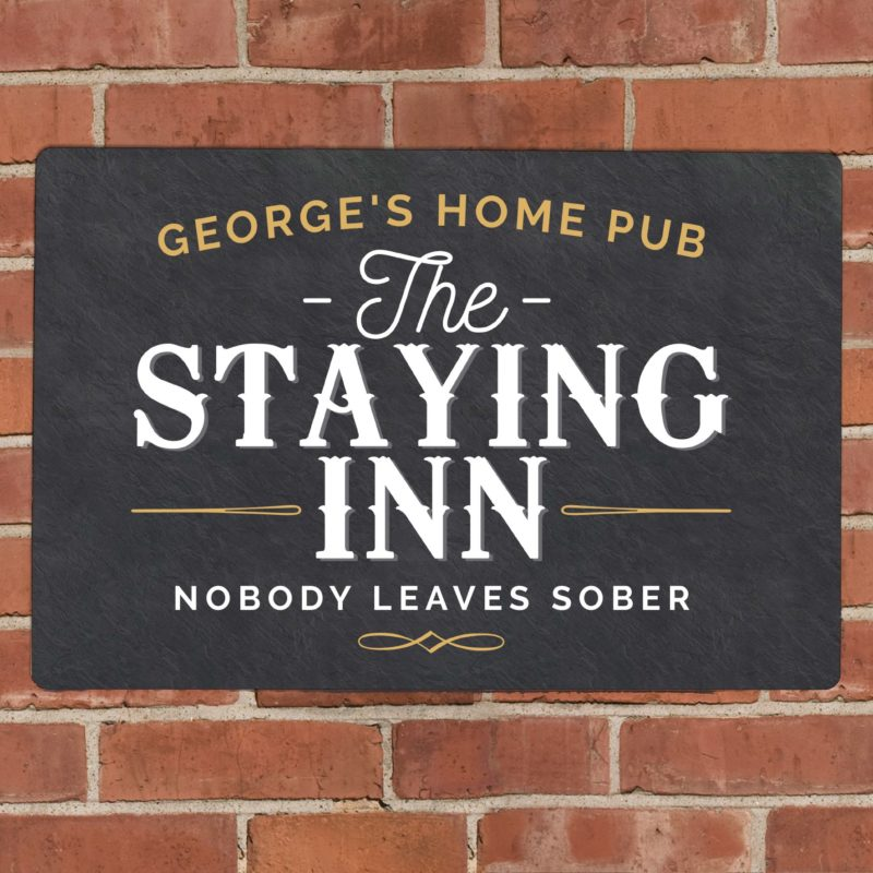 Personalised 'The Staying Inn' Metal Wall Sign