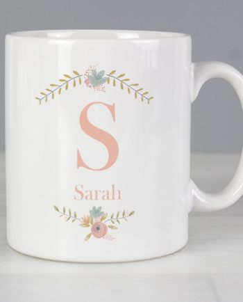 Personalised Floral Bouquet InitialMug