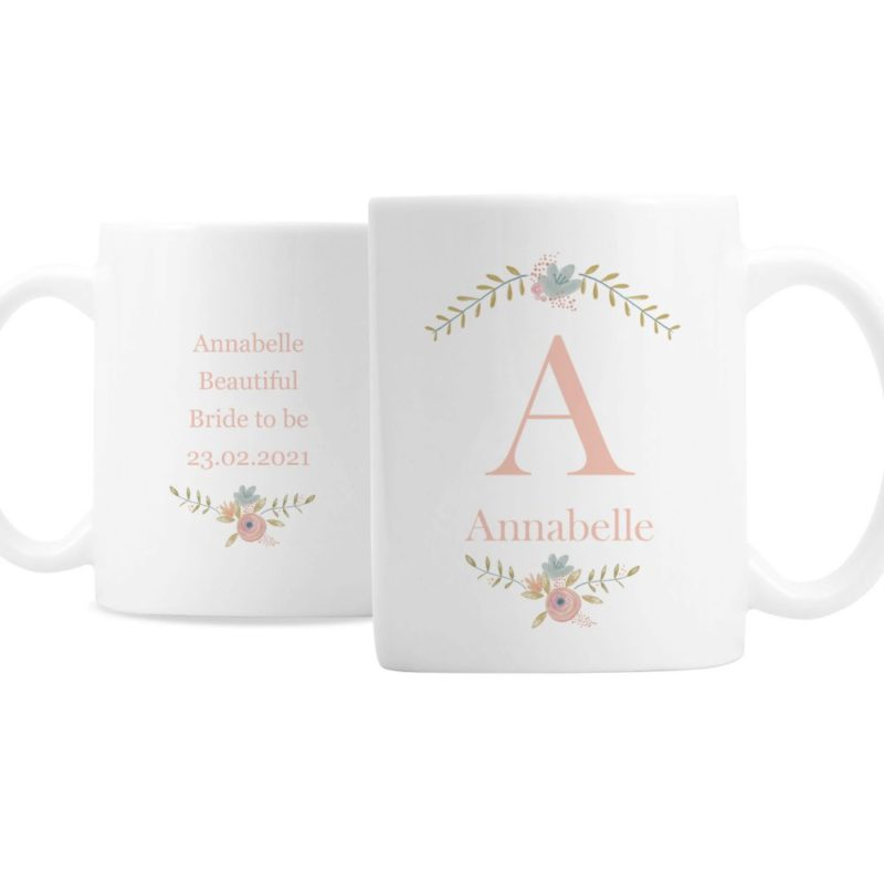Personalised Floral Bouquet Initial Mug