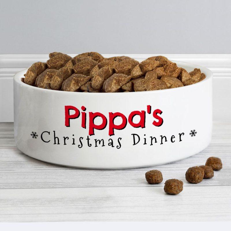 Personalised 'Christmas Dinner' 14cm Medium Pet Bowl