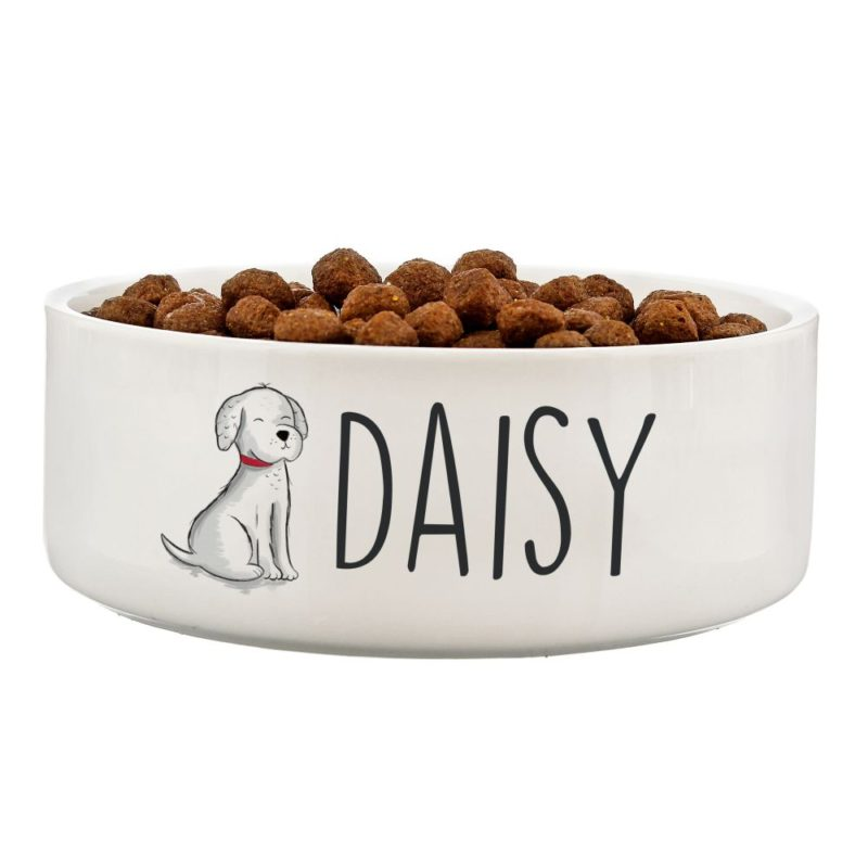 Personalised 'Scribble Dog' 14cm Medium Pet Bowl