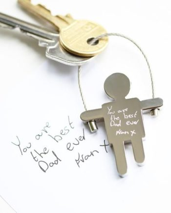 Personalised Skipping Sam Key Ring Handwriting Engraved