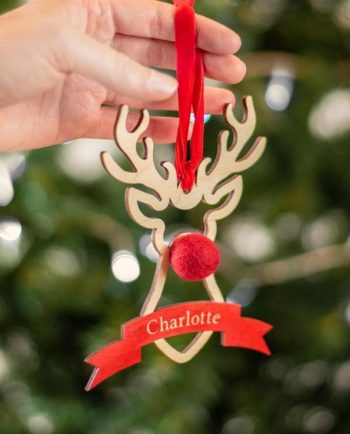 Personalised Rudolph Decoration With Pom Pom Nose