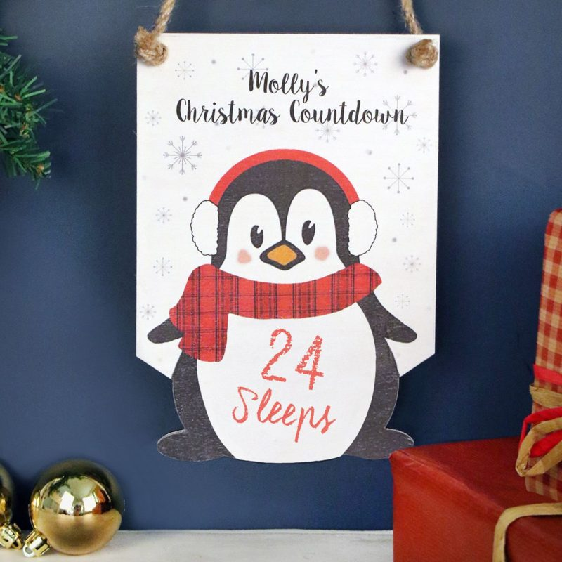 Personalised Penguin Christmas Countdown Sign