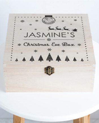 Personalised Santa & Snowflake Wooden Christmas Eve Box