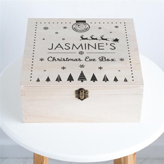 Personalised 'Santa & Snowflake' Wooden Christmas Eve Box