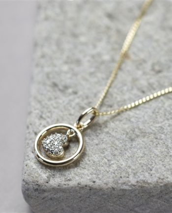 9ct Gold Dancing Heart Diamond Necklace