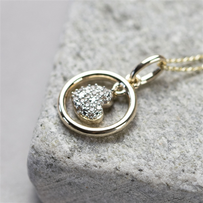 9ct Gold 'Dancing Heart' Diamond Necklace