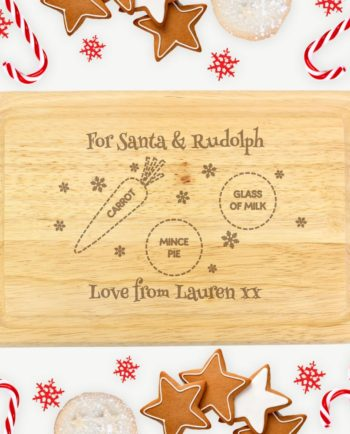 Personalised Christmas Eve Santa & Rudolph Wooden Board/Plate
