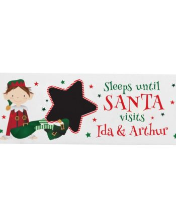 Personalised Elf Christmas Countdown Wooden Sign Decoration