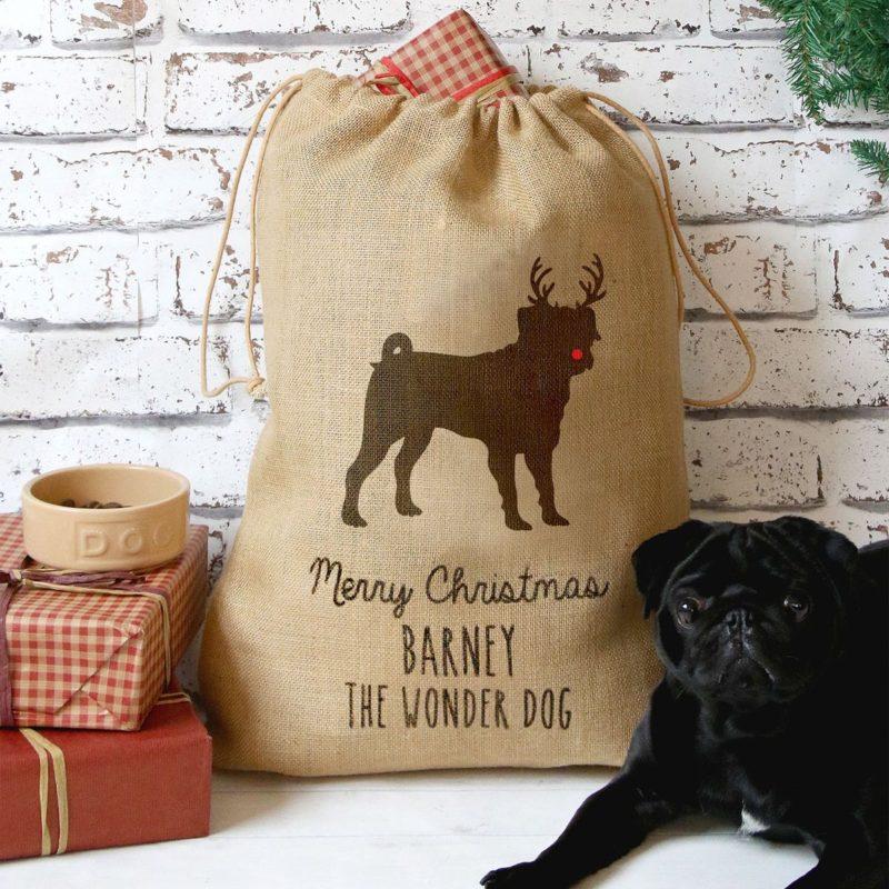 Personalised Dog Christmas Present Sack