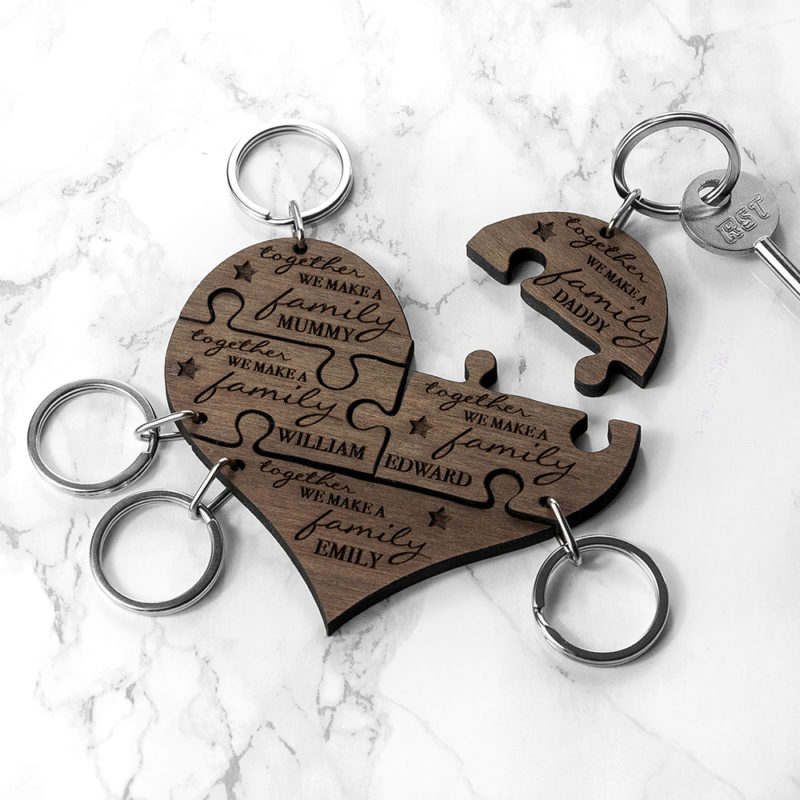 Personalised Family Together Jigsaw Keyring