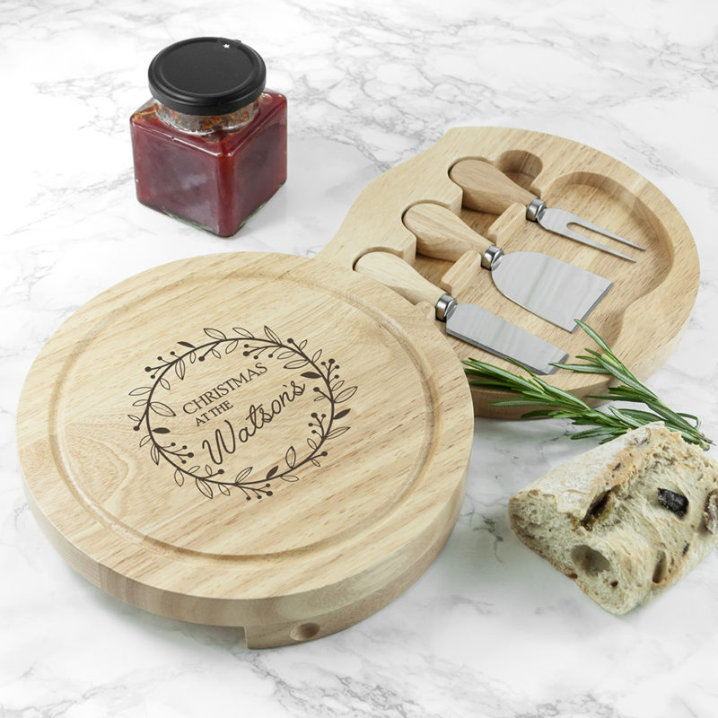 Personalised Classic 'Family Christmas' Cheese Board Set