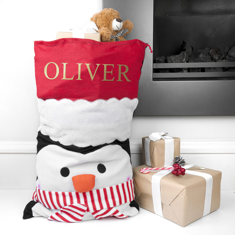 Personalised Penguin Santa Sack