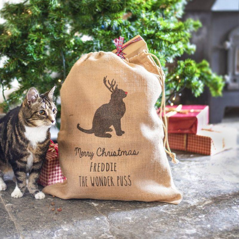 Personalised Cat Christmas Present Sack