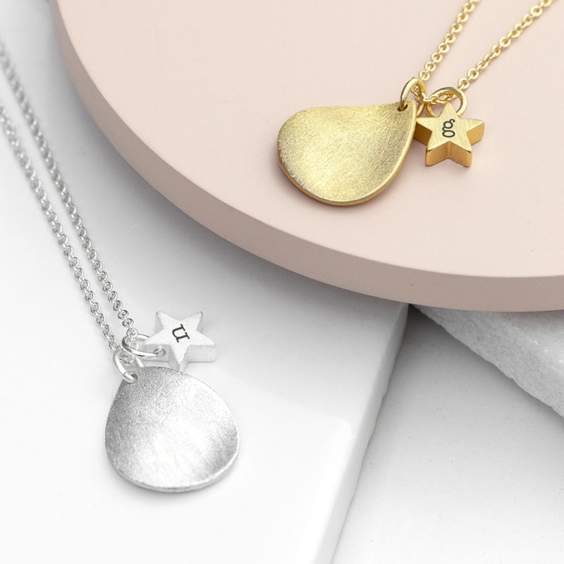Personalised Matte Star & Drop Necklace