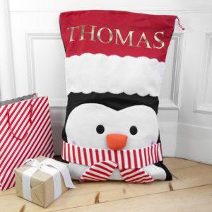 Personalised Penguin Santa Sack