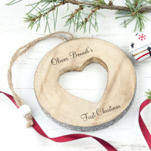 Personalised Sparkle Heart Christmas Tree Decoration Gift