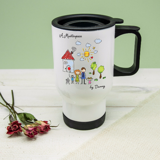 Personalised 'My Mini Artwork Masterpiece' Travel Mug