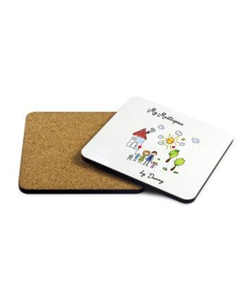 Personalised My Mini Artwork Masterpiece Wooden Coaster