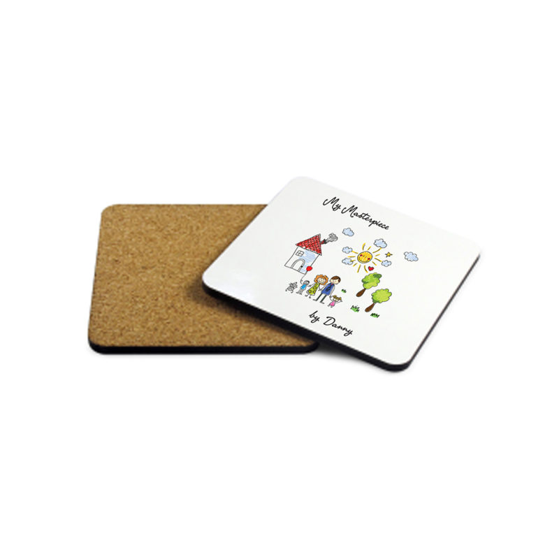 Personalised 'My Mini Artwork Masterpiece' Wooden Coaster