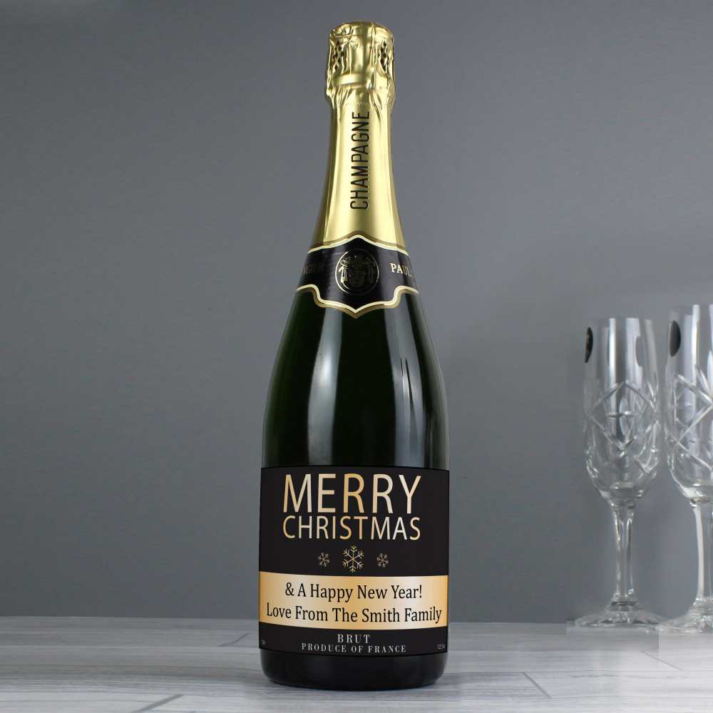 personalised champagne for christmas