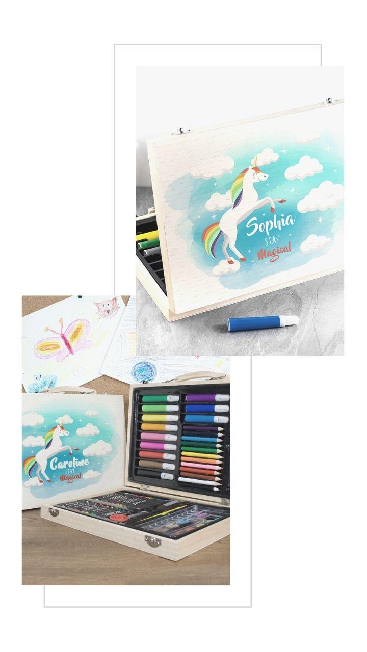 personalised rainbow unicorn colouring set