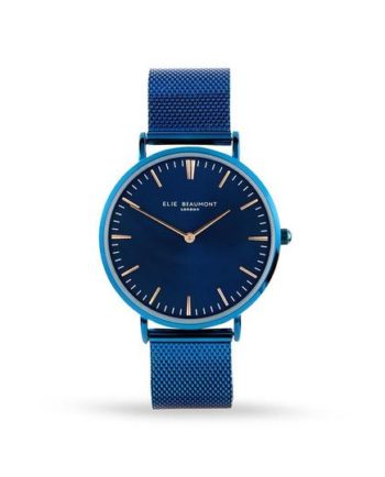 Personalised Elie Beaumont Electric Blue Minimalist Watch