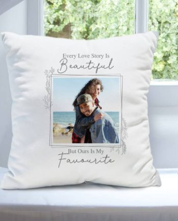 Personalised 'Love Story' Photo Upload Cushion