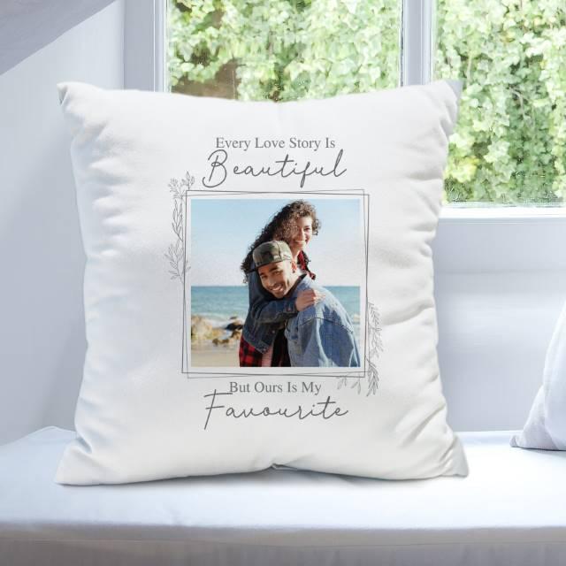 Personalised 'Love Story' Photo Upload Cushion