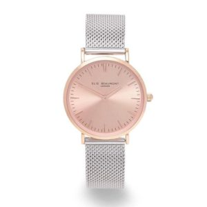 Personalised Small Elie Beaumont Rose Silver Watch